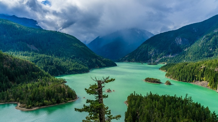 green, mountains, landscape, spring, nature, clouds, lake, forest, Washington state