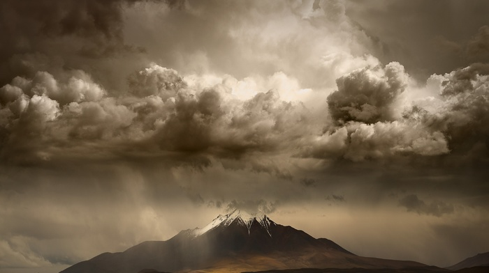 sky, landscape, snowy peak, road, mountains, storm, clouds, nature, daylight