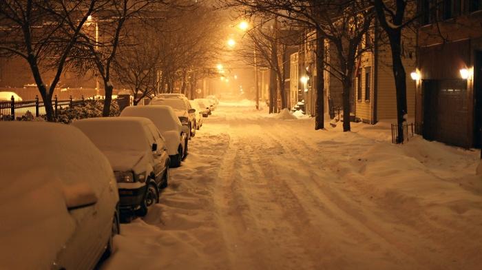 photography, urban, snow, winter, night, street, street light, city