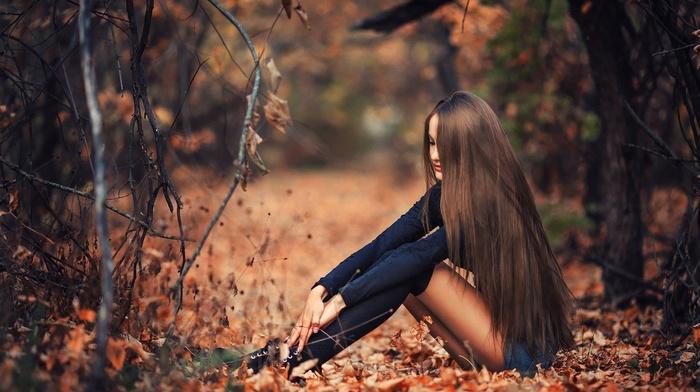 hair, straight hair, girl outdoors, socks, sitting, brunette, model, forest, hot pants, girl, fall, shorts
