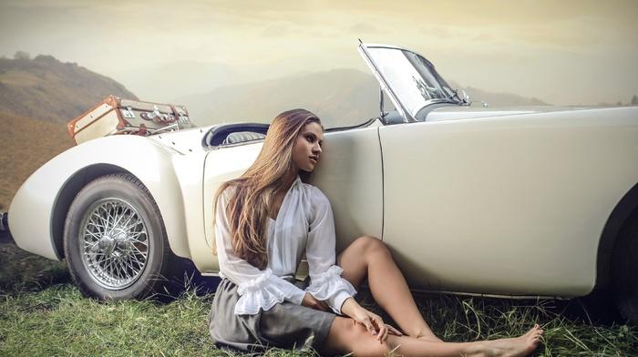model, hair, skirt, legs, girl, old car, dress, blonde, looking away