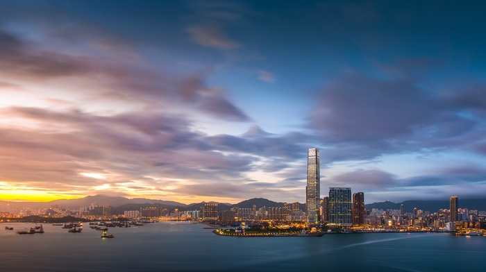 water, urban, building, harbor, skyscraper, China, architecture, evening, sunset, clouds, lights, ship, city, hills, Hong Kong, long exposure, cityscape, sea