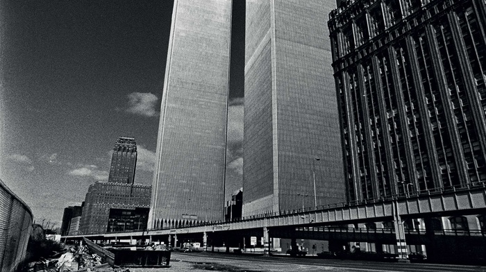 city, cityscape, World Trade Center, Twin Towers, men, old photos, monochrome, USA, bridge, New York City, portrait display, clouds, people, Never Forget, dirt, skyscraper, architecture, building, urban