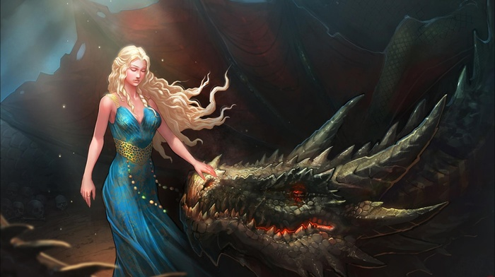 fan art, digital art, long hair, closed eyes, blonde, fantasy art, nature, Daenerys Targaryen, girl, Game of Thrones, blue dress, dragon