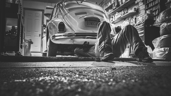 classics, car, Volkswagen, black, beetles, white, vintage, garages, monochrome