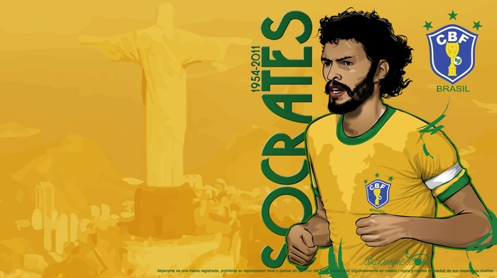 Socrates, footballers, Brasil, Corinthians, soccer