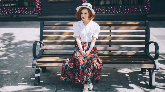 model, hat, bench, girl