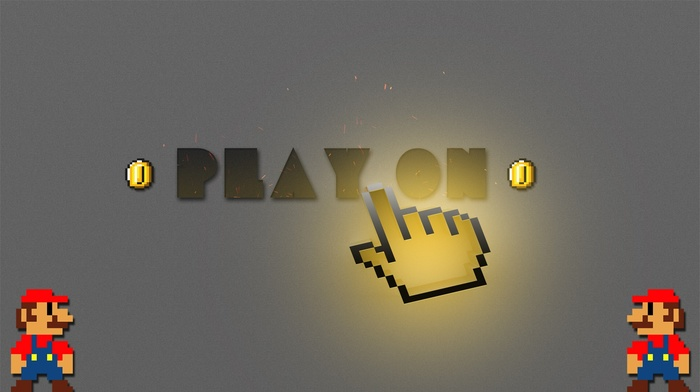 playstation, playing, cursor, play, Super Mario, 2D, coins