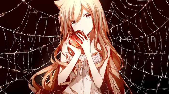 cat girl, original characters, blonde, anime girls, dress, fruit, anime