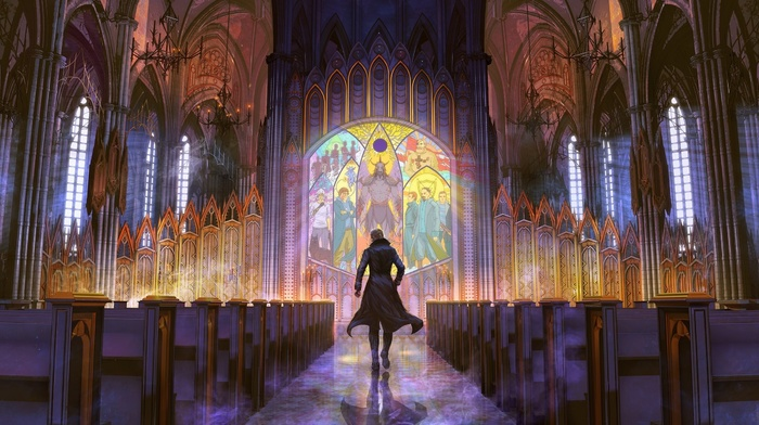 interior, artwork, bench, stained glass, church, cathedral, fantasy art