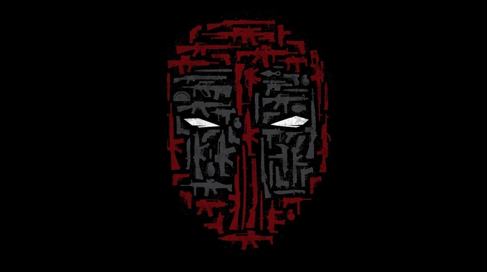 minimalism, collage, weapon, mask, Deadpool