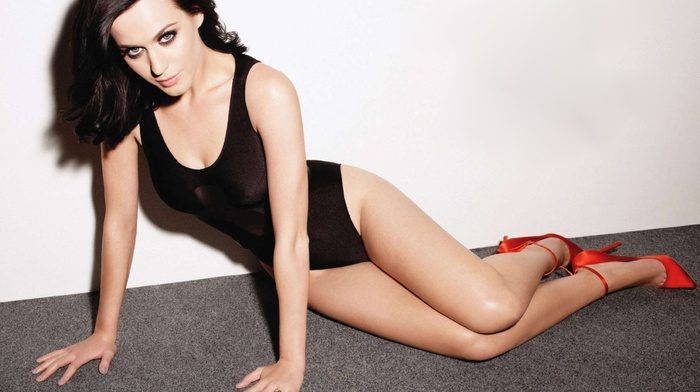 cleavage, high heels, girl, black hair, Katy Perry, celebrity, One, piece swimsuit
