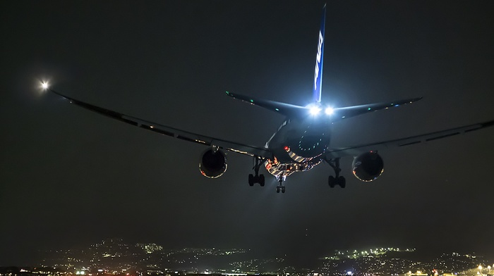 runway, night, landing, airplane, aircraft, airport, Boeing