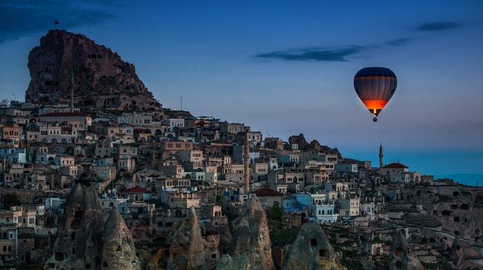 sunset, landscape, building, cityscape, rock, house, sky, clouds, evening, city, castle, hot air balloons