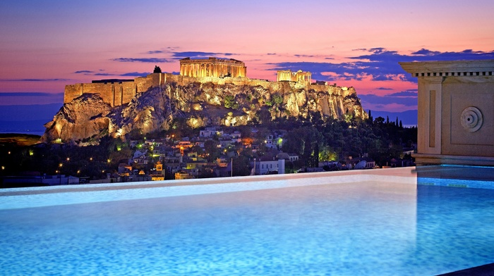 sky, swimming pool, building, city, Greece, clouds, cityscape, house, evening, Athens, sunset, landscape, lights