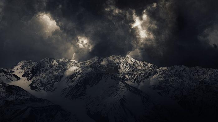 mountains, snowy peak, summit, clouds, dark, sunlight, nature, storm, landscape
