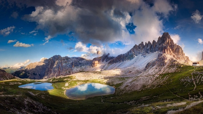 clouds, mountains, Alps, sunset, Italy, landscape, summer, lake, Dolomites mountains, nature, cabin