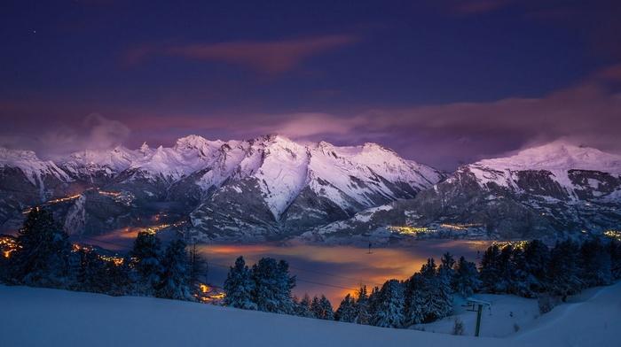 city, nature, landscape, trees, Alps, mountains, snow, panoramas, mist, lights