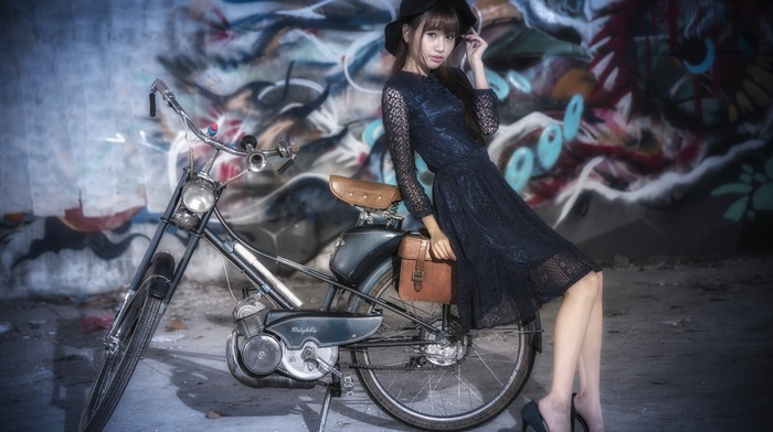 model, Asian, girl, bicycle