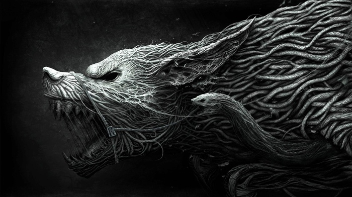simple background, snake, Werewolf, fantasy art, creature, horror, dark fantasy, digital art, monochrome, wolf, roots