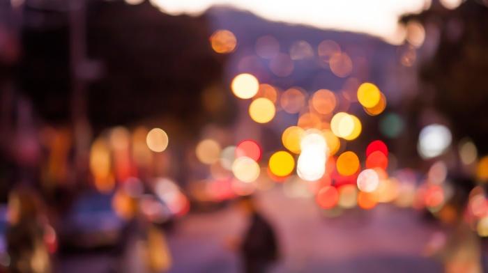 city, blurred, bokeh, lights