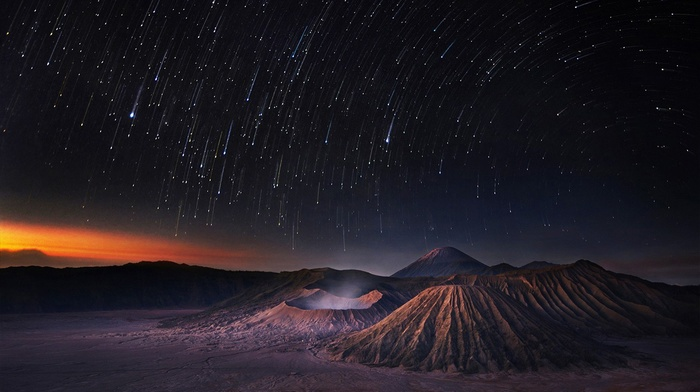 long exposure, Indonesia, crater, star trails, landscape, volcano, Mount Bromo, Milky Way