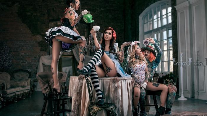 uniform, leotard, panties, table, group of girl, girl, lingerie, men, chair, tattoo, stockings, high heels, looking away, Alice in Wonderland, hat, ass, dress, sitting, crown