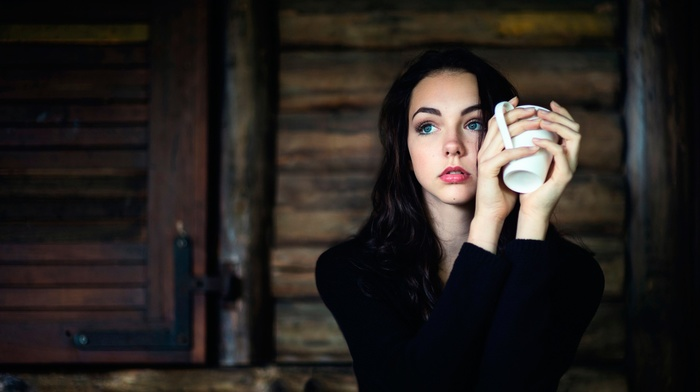 girl, cup, model