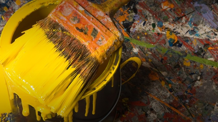 paintbrushes, paint splatter, painting, yellow, paint can