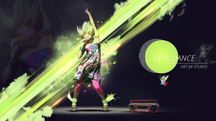 photo manipulation, green, paint splatter, blonde, digital art, digital toning, studios, folk dance, dancing, glass, radio