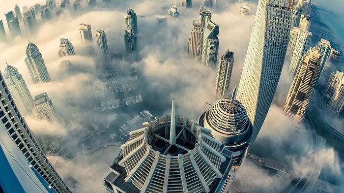 city, building, skyscraper, Dubai, heights, urban, cityscape, photography, clouds, architecture, sea, fisheye lens, aerial view, mist