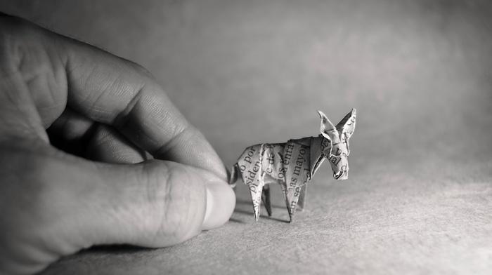 hands, paper, donkey, monochrome, origami