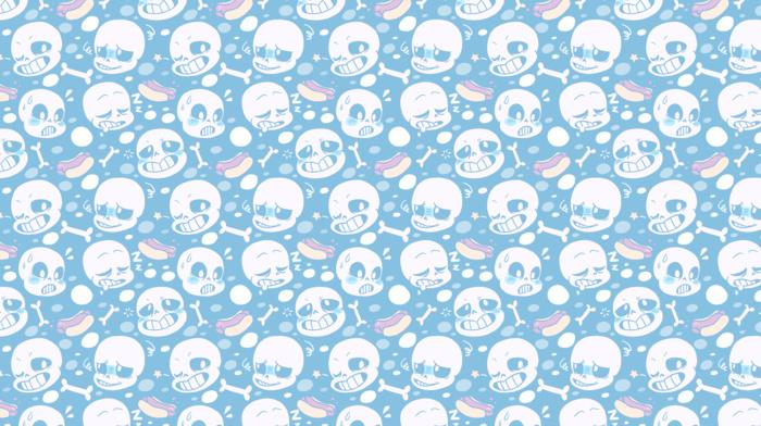 skull, teeth, Undertale, digital art, hot dogs, face, sleeping, blue background, faded, bones, stars
