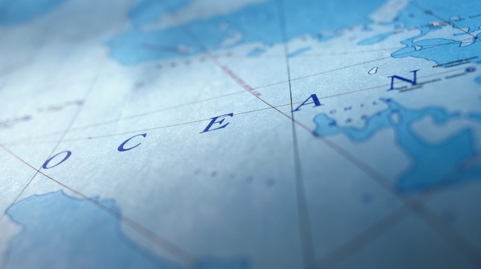 sea, continents, map, blue, depth of field, lines, text, typography