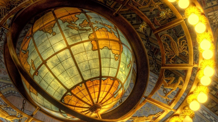 continents, Africa, map, Asia, Australia, lights, metal, sea, world map, Zodiac, lines, globes