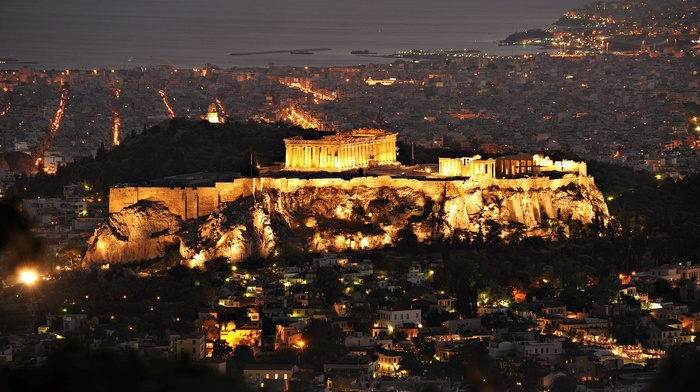 column, birds eye view, lights, street, house, cityscape, sea, evening, acropolis, Greece, old building, Athens, architecture, city, history, hills, trees, rock