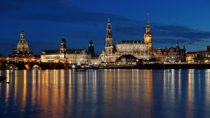 cathedral, architecture, Dresden, tower, water, church, trees, city, river, bridge, dome, old building, reflection, evening, lights, Germany, clouds