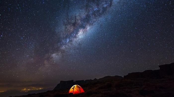 landscape, camping, night, stars, Milky Way