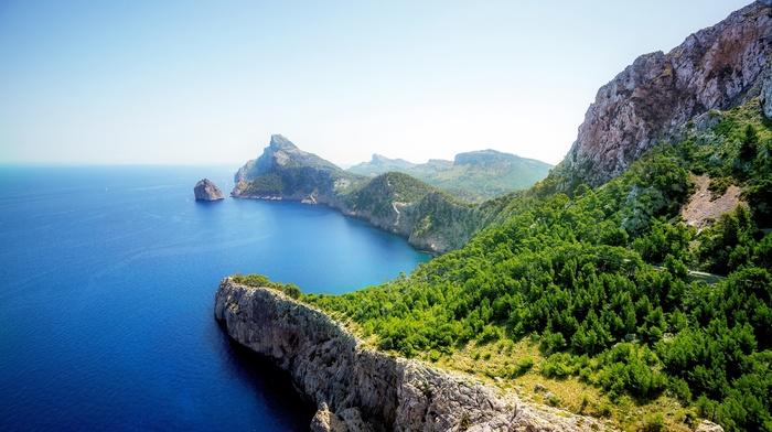coast, rocks, landscape, mountains, sea, aerial view