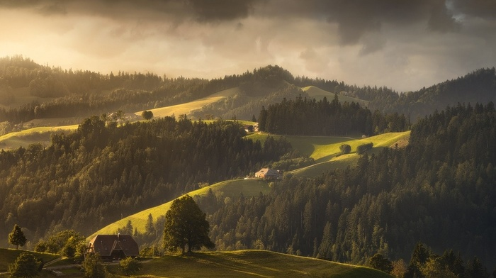 house, green, nature, hills, landscape, clouds, spring, trees, forest