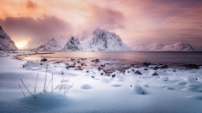 snow, sunlight, winter, clouds, Norway, Lofoten Islands, mountains, landscape, frost, nature, fjord