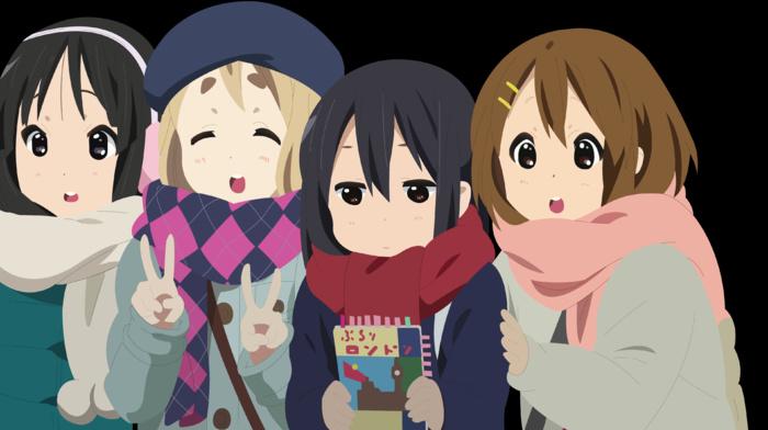 Hirasawa Yui, Nakano Azusa, anime girls, Kotobuki Tsumugi, K, on, vector, Akiyama Mio