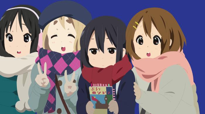 K, on, anime girls, Akiyama Mio, vector, Kotobuki Tsumugi, Nakano Azusa, Hirasawa Yui