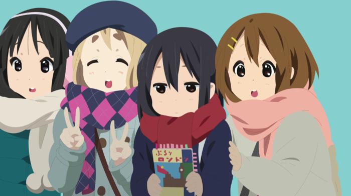 Hirasawa Yui, Kotobuki Tsumugi, Akiyama Mio, vector, Nakano Azusa, anime girls, K, on