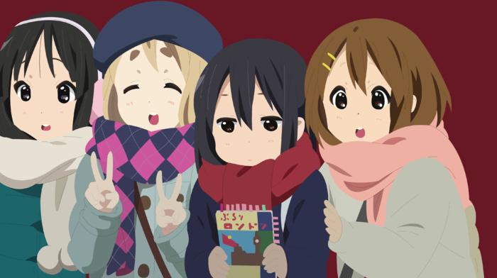 anime girls, Kotobuki Tsumugi, Nakano Azusa, Hirasawa Yui, vector, K, on, Akiyama Mio