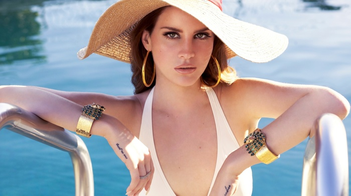 swimming pool, girl, brunette, Lana Del Rey, looking at viewer, singer, celebrity, hat