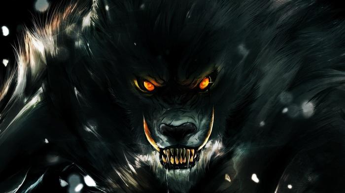 digital art, fangs, World of Warcraft, fantasy art, werewolves, Worgen, video games, orange eyes, creature, animals