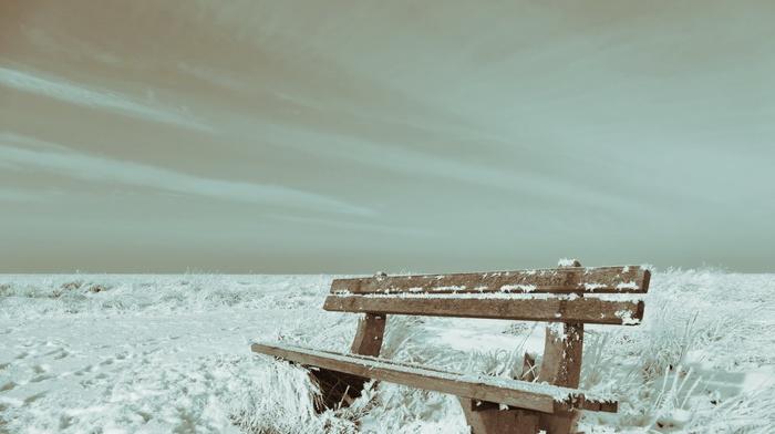 winter, nature, landscape, bench