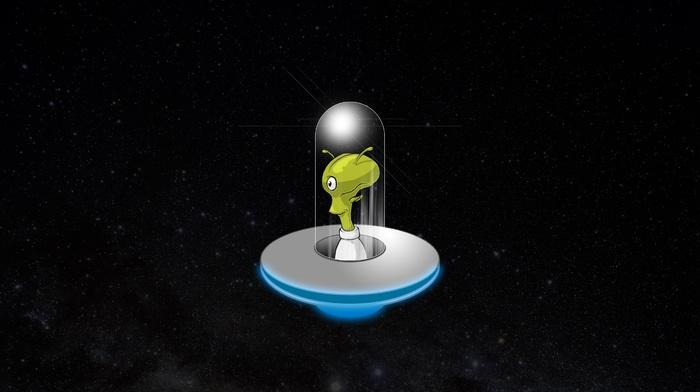 glowing, stars, ufo, aliens, space