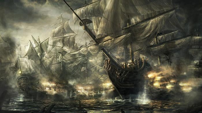 army, ship, ocean battle